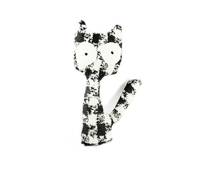 Toy Animals & Monster Toys – Toy: Cat sitting cotton black and white – a unique product by ARTandCAT on DaWanda