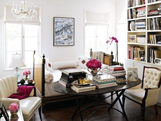 artsy library: Libraries, Spaces, Books, Living Rooms, Offices, Colors, Coff Tables, Daybeds, White Wall