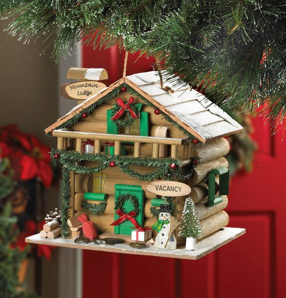HOLIDAY MOUNTAIN LODGE BIRDHOUSE eaglecrazgifts.com  Holiday Mountain Lodge Birdhouse  Nice decor for the Holidays $24.95.