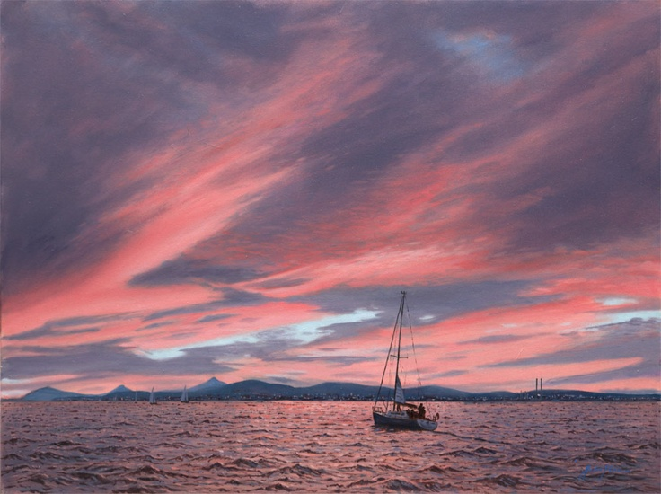 Red sky from Sutton by Irish artist John Kirwan. Signed limited edition prints available.