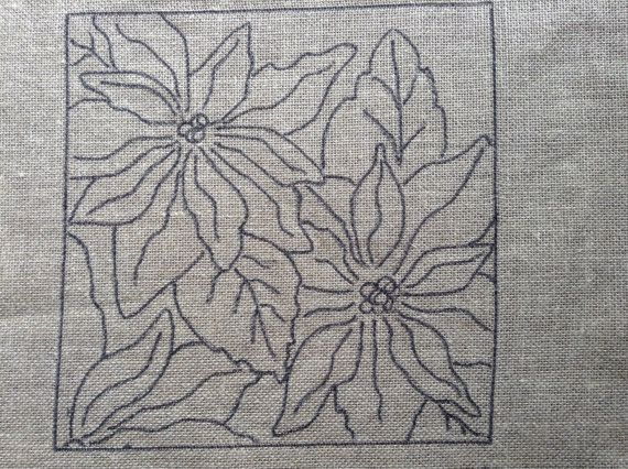 Poinsettia Rug Hooking Pattern 12 x 12 by LCsWoolnSilk on Etsy