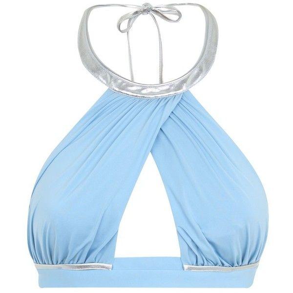 La Perla Waves Azure Ruched Halterneck Bikini Top ($280) ❤ liked on Polyvore featuring swimwear, bikinis, bikini tops, blue, cut out bikini, scrunch bikini, halter cut out bikini, tie back bikini and halter tops
