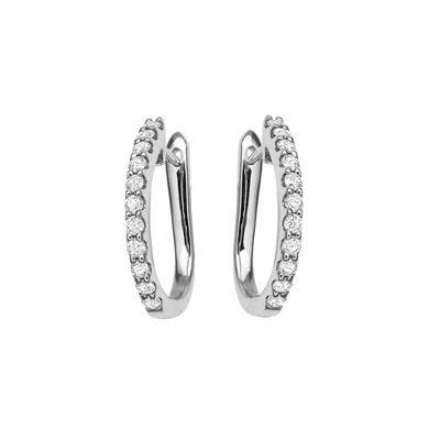 WHITE GOLD CLAW SET DIAMOND HUGGIE EARRINGS R82590