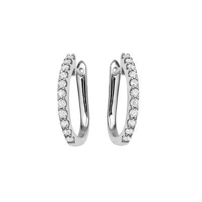 WHITE GOLD CLAW SET DIAMOND HUGGIE EARRINGS R82590