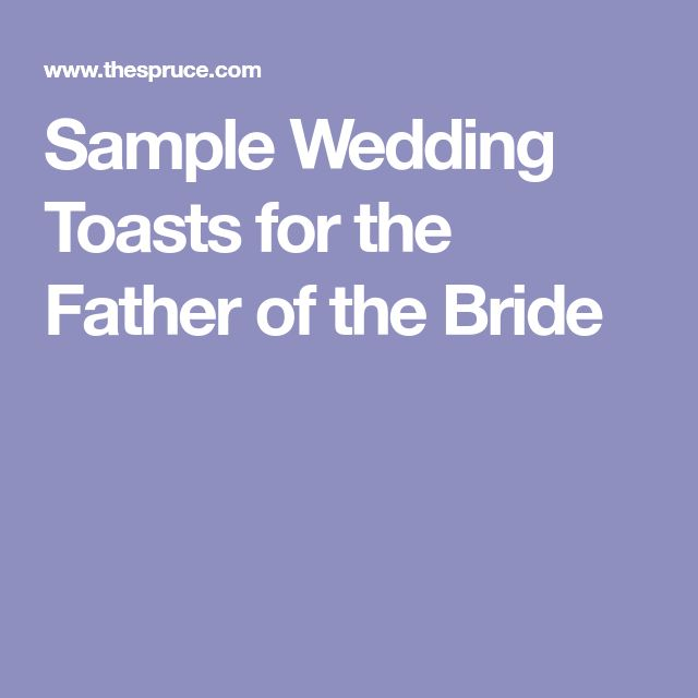 Sample Wedding Toasts for the Father of the Bride