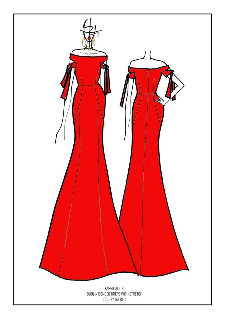 Rebecca Vallance Bespoke Gown for Nicole O'Neil Concept Drawing and Fashion Sketch