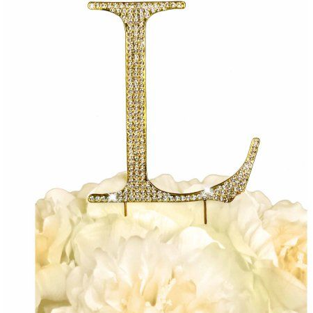 Unik Occasions Collection Rhinestone Wedding Cake Topper, Gold - Walmart.com letter S tho