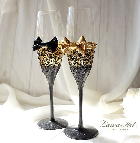Gold Wedding Champagne Glasses Gatsby Style Wedding by LaivaArt