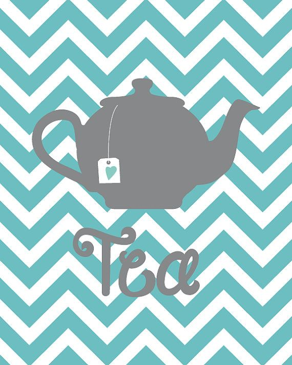Kitchen Art Chevron Seablue Grey Silhouette Teapot and cups Printable Artwork