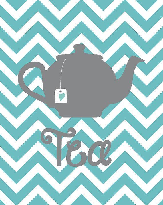 Kitchen Art Chevron Seablue Grey Silhouette Teapot and cups Printable Artwork