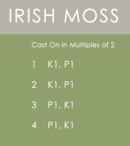 Irish Moss Stitch Knitting Pattern Instructions by Kristen McDonnell of Studio Knit :: Knitting Techniques: slip knot, long-tail cast on, knit, purl