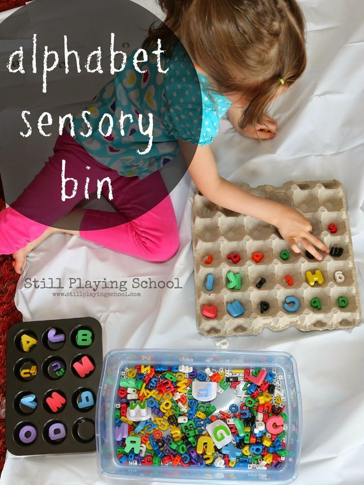 Multiple learning activities with an alphabet sensory bin for preschoolers and toddlers!