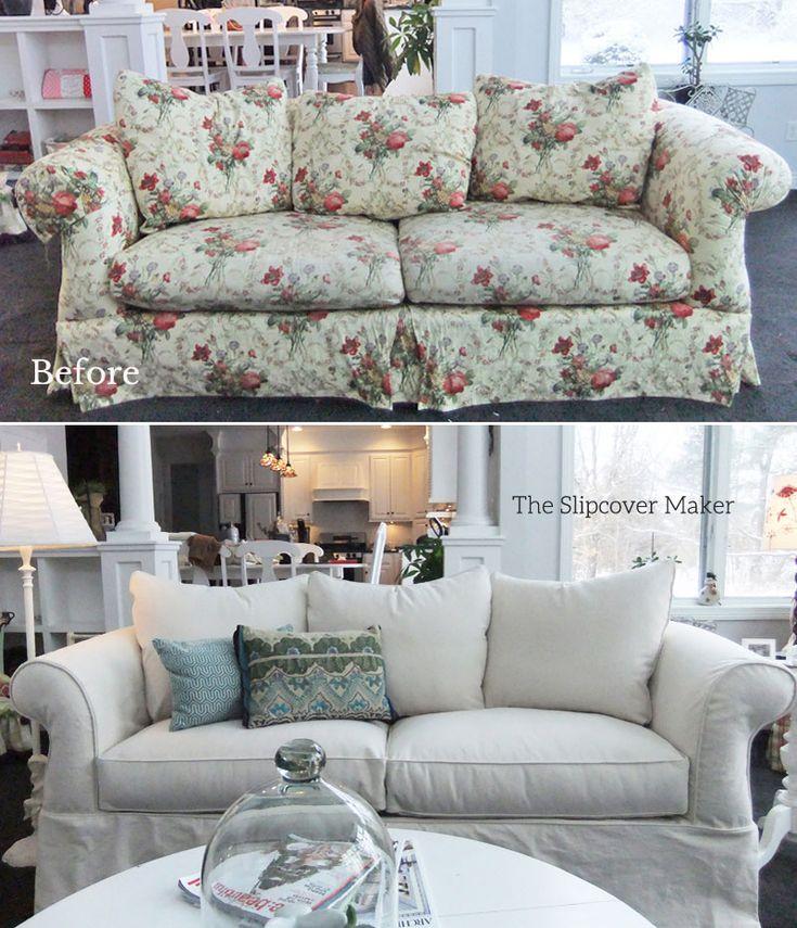 Custom sofa slipcover in natural denim the new look is