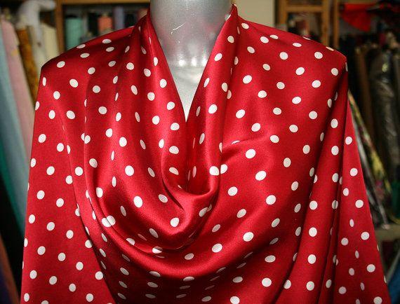 polka dot fabric, red and white polka dots spots, silk satin fabric, red silk satin fabric