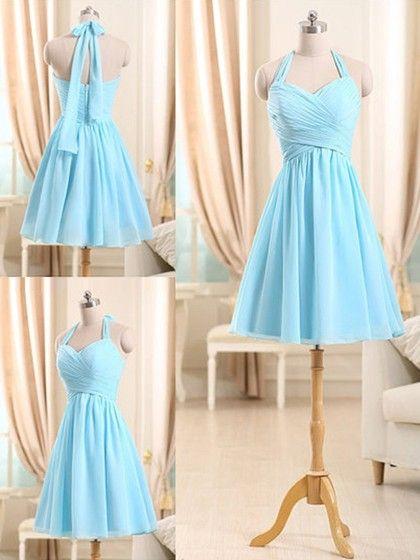 Fashionable Short/Mini Light Sky Blue Chiffon Ruffles Halter Bridesmaid Dresses