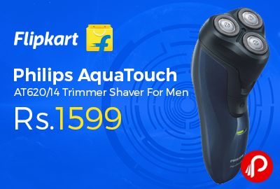 Flipkart #DealofTheDay is offering 40% off on Philips AquaTouch AT620/14 #Trimmer Shaver For Men at Rs.1599. 100% waterproof shaver with Aquatec wet & dry seal, QuickRinse system for easy cleaning, CloseCut blades with rounded edges for optimal and smooth shave, Long-lasting blades that last up to 2 years, Over 30 minutes of shaving time on full charge,   http://www.paisebachaoindia.com/philips-aquatouch-at62014-trimmer-shaver-for-men-at-rs-1599-flipkart/