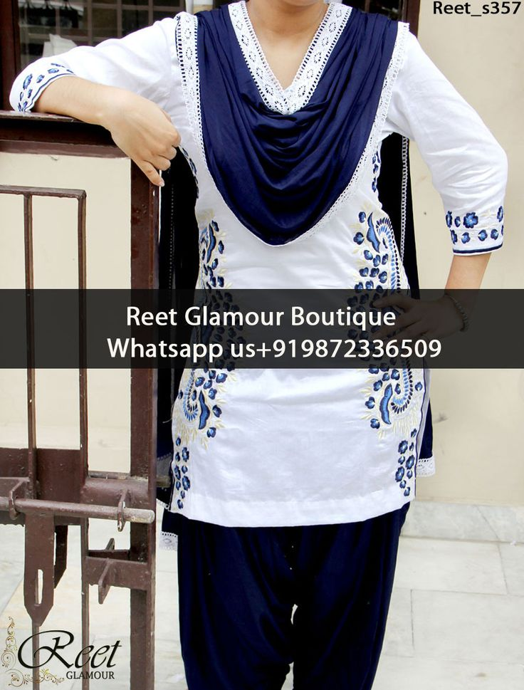Aesthetic White And MidNight Blue Embroidered Punjabi Suit Product Code : Reet_s357 To Order, Call/Whats app On +919872336509 We Offer Huge Variety Of Punjabi Suits, Anarkali Suits, Lehenga Choli, Bridal Suits,Sari, Gowns Etc .We Can Also Design Any Suit Of Your Own Design And Any Color Combination.