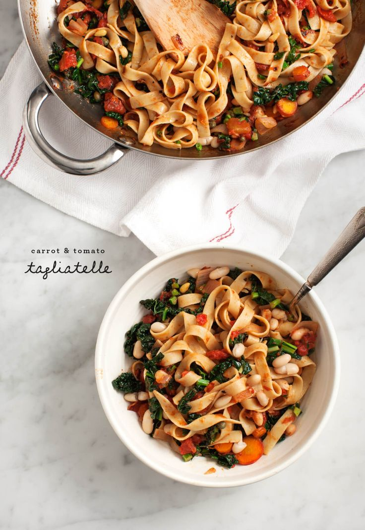 Carrot and Tomato Tagliatelle - A vegetable-packed pasta with carrrots, tomatoes, kale and white beans. Vegan and Gluten Free options.