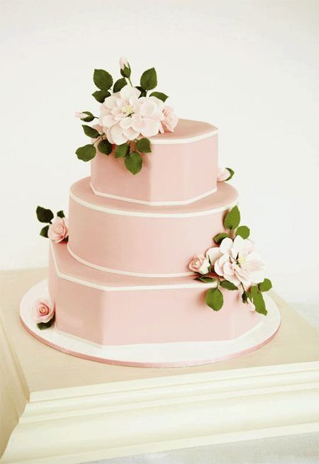 Pink cake...so southern with the flowers!