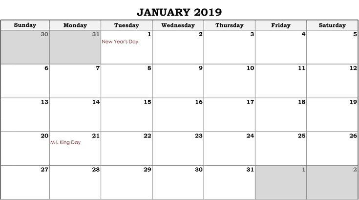 Online Fillable Calendar January 2019 250+ January 2019 Calendar