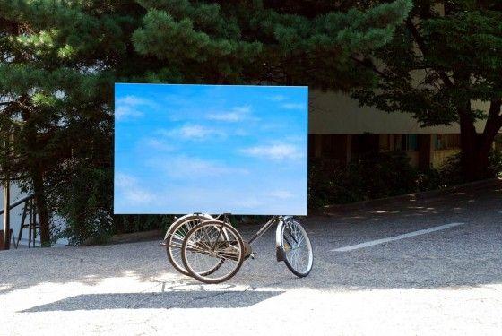 Kyuchul Ahn, Sky Bicycle, 2011, Bicycle, metal, acrylic on canvas, Dimensions variable