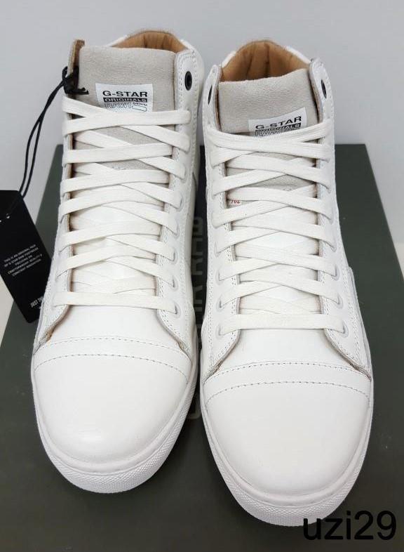NIB G Star Raw Stanton Hi Men's Sneakers White Suede & Leather Last few  Sizes