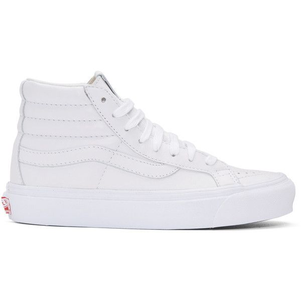 Vans White OG Sk8-Hi LX Sneakers ($110) ❤ liked on Polyvore featuring shoes, sneakers, white, vans sneakers, leather high tops, high-top sneakers, white shoes and white high top shoes