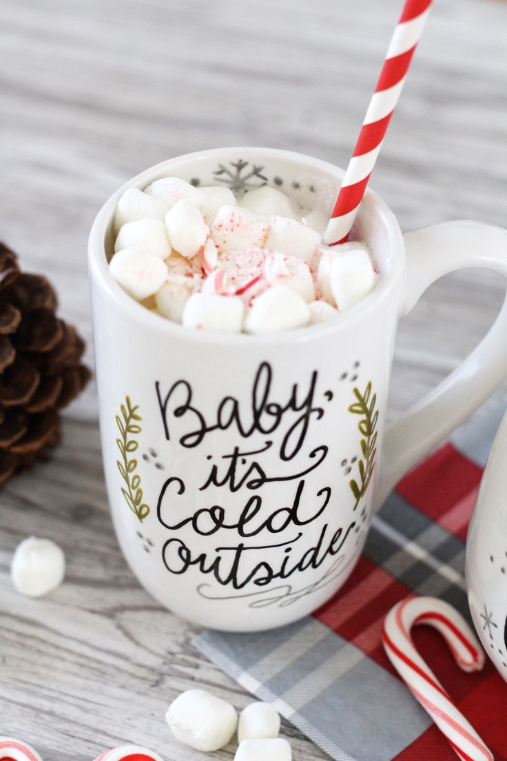 Hand-lettered, custom baby it's cold outside mug using PaintedByMe markers