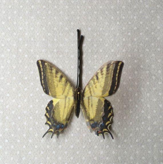 Soft - Handmade Bio Cotton and Silk Organza Yellow Swallowtail Butterfly Hair Bobby Pin - 1 piece