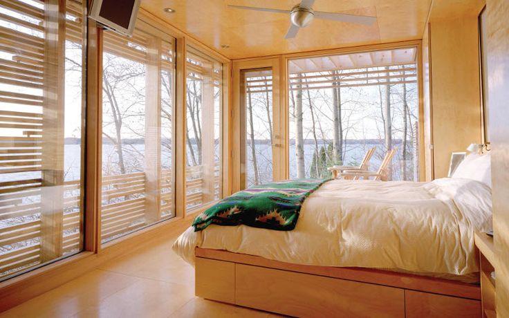 La luz de la mañana: Tiny House, Window, Smyth Architects, Sunsets Cabins, Lakes, Shoji, Cabins Interiors, Taylors Smyth, Cabins Bedrooms