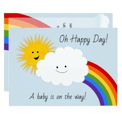 Sunshine and Rainbows Baby Shower Card - newborn baby gift idea diy cyo personalize family
