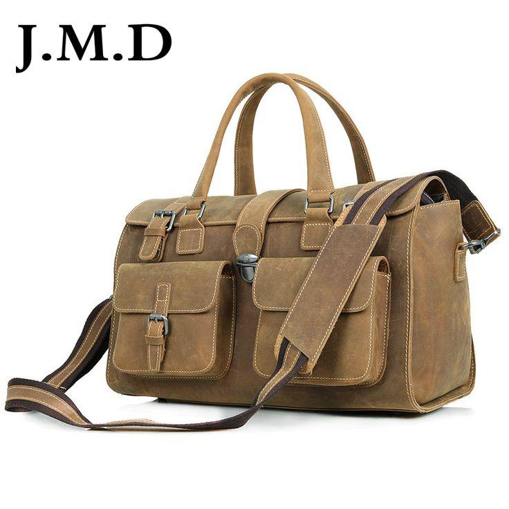 J.M.D Crazy Horse Leather Travel Double Handbags Luggage Dufflel Bag Shoulder Bag 6001B