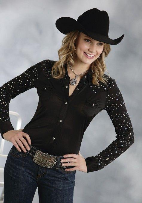 Roper® Women's Black Sequined Long Sleeve Rhinestone Snap Western Show Shirt