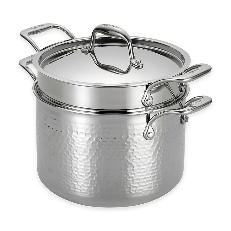Lagostina Martellata TriPly Stainless Steel 6 qt. Covered
