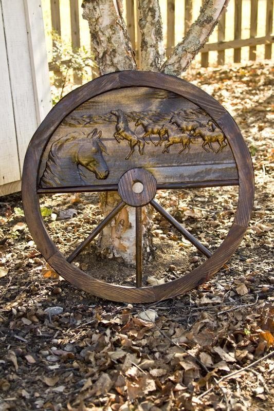 Western Wood Horse Wagon Wheel  Free by BigTreeWoodworking on Etsy, $145.00