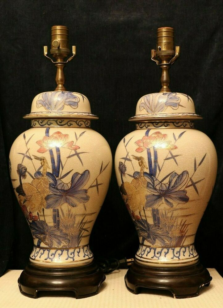 Wildwood Hand Painted Ginger Jar Lamp Flawless Condition