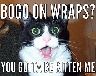 3 hours and counting. Get a jump start on new year resolutions w/ that crazy wrap thing! Keep in mind, it's only the second time since 2001 for #bogo wraps. Don't miss it...email thiswrap@gmail.com or text (630) 724-7600.