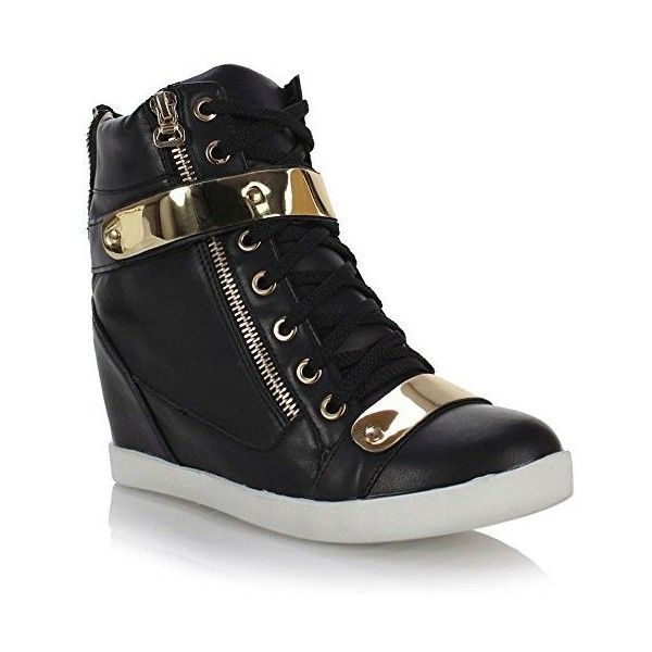 Fashion Thirsty Womens Wedge Concealed Heel High Tops Platform... ❤ liked on Polyvore featuring shoes, sneakers, wide shoes, wedge hi tops, high top platform sneakers, hi top wedge sneakers and wide width sneakers