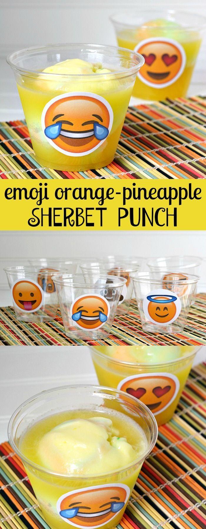 Emoji Orange Pineapple Sherbet Party Punch Recipe And Cup Printables Theme PartyEmoji Birthday Ideas GirlsBirthday EmojiNeon