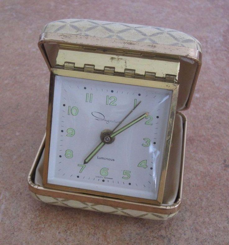 Vintage Ingraham travel alarm clock, creme and gold, working #ingraham