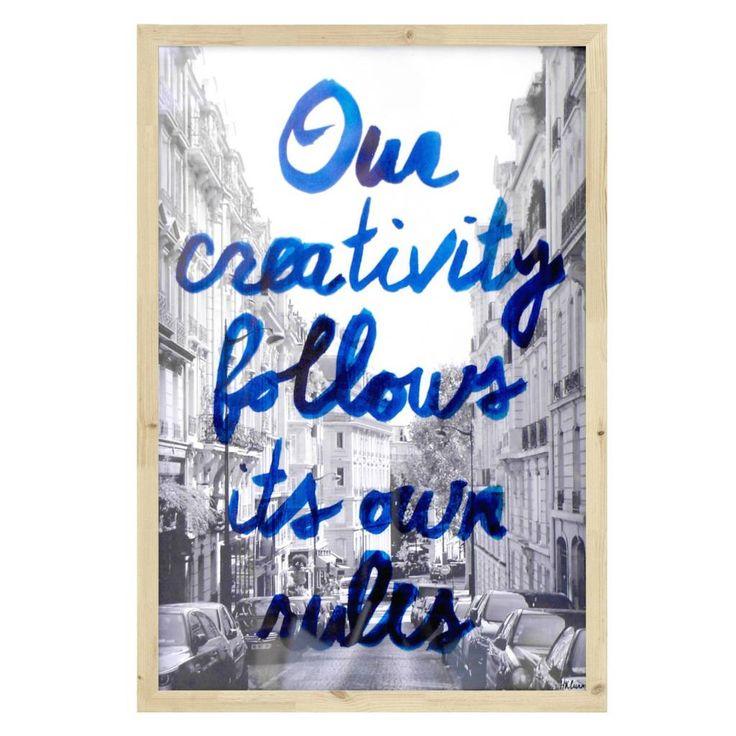 HK-living Bilderrahmen Creativity, schwarz/weiß/blau, 32,5x47,5cm - lefliving.de