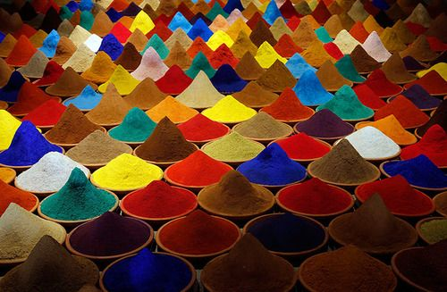 Part of an installation using spices called Campo de Color by Bolivian artist Sonia Falcone, in the Latin American pavilion at the Venice Biennale