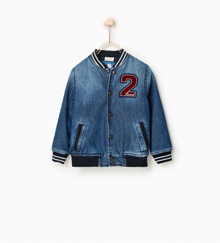 Image 1 of Denim bomber jacket from Zara