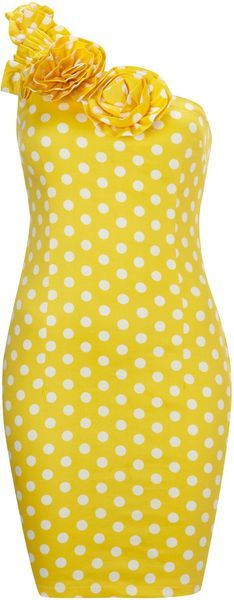Ax Paris Yellow Ax Paris Polka Dot One Shoulder Dress