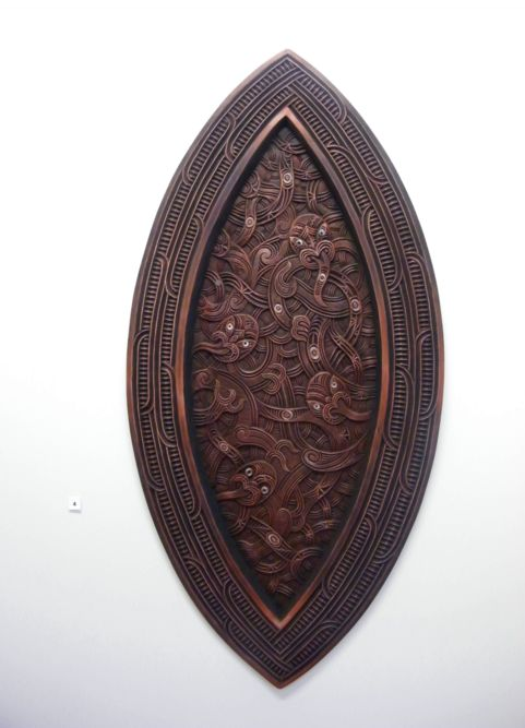 'Whare Tangata' by Daniel Ormsby. Whare Tangata means womb. The oval represents the womb and the figures inside are the life to be.