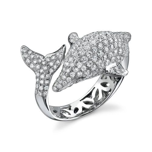 diamond dolphin ring - Dolphin Wedding Rings