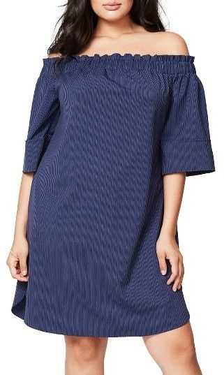 Plus Size Off The Shoulder Stripe Dress