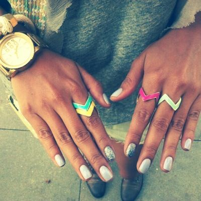 Sincerely, Jules: Nails Colour, Silver Glitter Nails, Cute Rings, Colors Rings, Nails Art, Cute Nails, Chevron Rings, Sincerely Jules, Colour Rings