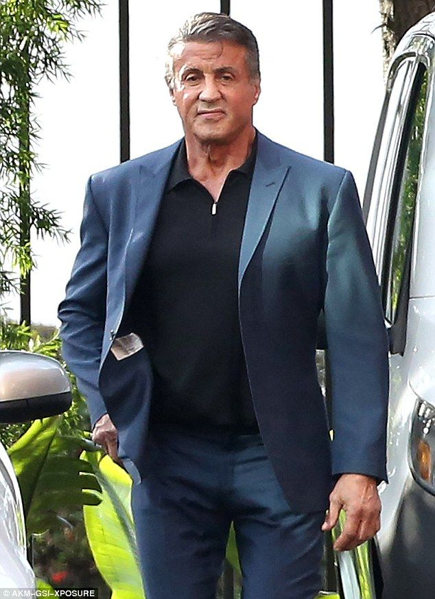 Treating himself: Sylvester Stallone was spotted stepping out in Beverly Hills on Friday to purchase a new jade green 2016 Mercedes-Benz G550