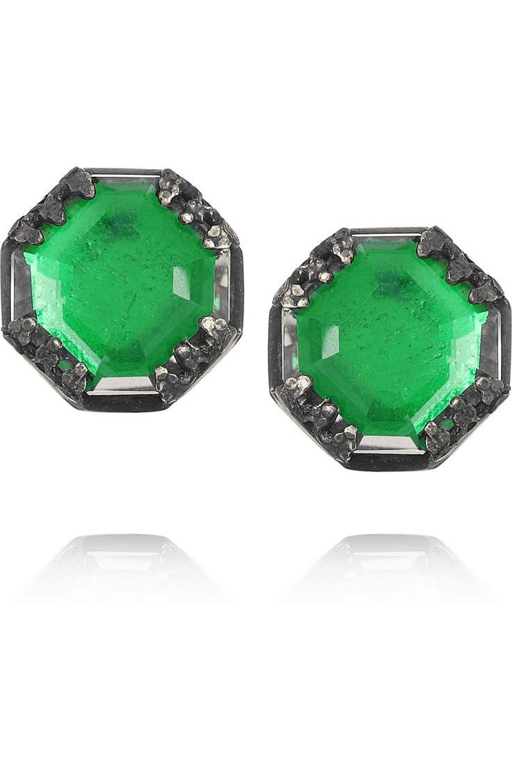 Little green stop signs. (Larkspur & Hawk|Mary Oxidized   Sterling Silver Topaz Earrings)